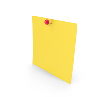 Yellow Sticky Note With Sphere Push Pin PNG & PSD Images