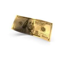 Golden 100 Dollar Banknote Bill PNG & PSD Images