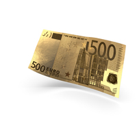 Golden 500 Euro Banknote Bill PNG & PSD Images