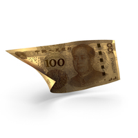 Golden 100 Chinese Yuan Banknote Bill PNG & PSD Images