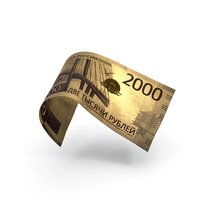 Golden 2000 Russian Ruble Banknote Bill PNG & PSD Images