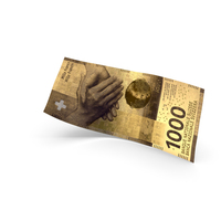 Golden 1000 Swiss Franc Banknote Bill PNG & PSD Images