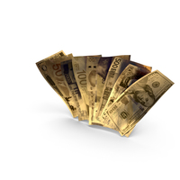 Golden Bills from Different Countries PNG & PSD Images