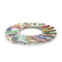 Circle of Folded Bills from Different Countries PNG & PSD Images