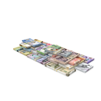 Stacks of Banknotes from Different Countries PNG & PSD Images