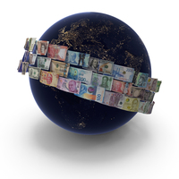 Money Around Earth at Night PNG & PSD Images