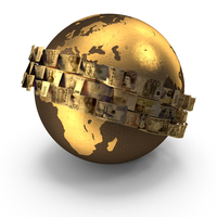 Golden Banknotes Around the Globe PNG & PSD Images