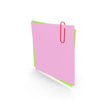 Papers With Paper Clip Pink Green PNG & PSD Images