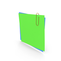 Papers With Paper Clip Green Blue PNG & PSD Images