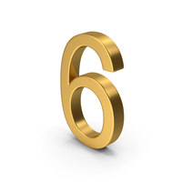 Number 6 Gold PNG & PSD Images