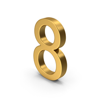 Number 8 Gold PNG & PSD Images