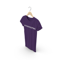 Female Crew Neck Hanging Purple Housekeeping PNG & PSD Images