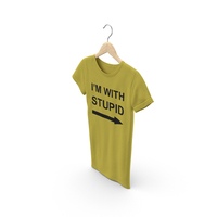 Female Crew Neck Hanging Yellow Im With Stupid PNG & PSD Images