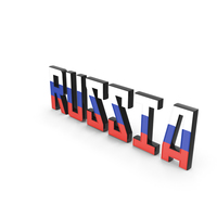 Russia Text with Flag PNG & PSD Images