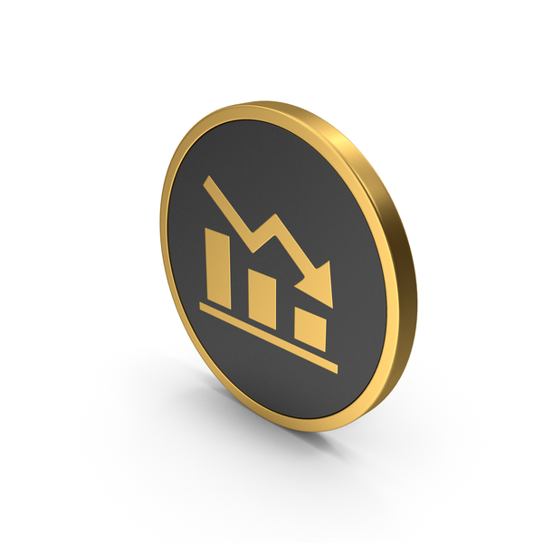 Gold Icon Graph Chart Down PNG & PSD Images