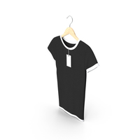 Female Crew Neck Hanging With Tag White and Black PNG & PSD Images
