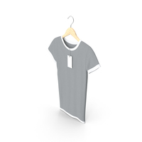 Female Crew Neck Hanging With Tag White and Gray PNG & PSD Images
