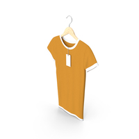 Female Crew Neck Hanging With Tag White and Orange PNG & PSD Images