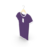 Female Crew Neck Hanging With Tag White and Purple PNG & PSD Images