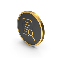 Gold Icon Document With Magnifying Glass PNG & PSD Images