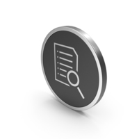 Silver Icon Document With Magnifying Glass PNG & PSD Images