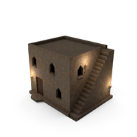 Old Stone House 2 Floors at Night PNG & PSD Images