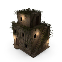 Old Stone House 3 Floors With Ivy Vines at Night PNG & PSD Images