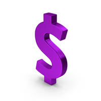 Symbol Dollar Purple Metallic PNG & PSD Images