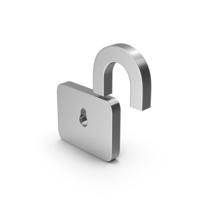 Symbol Unlocked Padlock Silver PNG & PSD Images