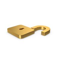 Gold Symbol Unlocked Padlock PNG & PSD Images