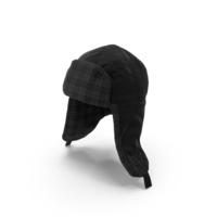 Women's Ear Flap Hat Black Tartan PNG & PSD Images
