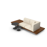2 Seater Outdoor Teak Platform Lounge Setting with Tables PNG & PSD Images