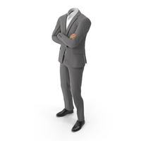 Crossed Arms Suit Grey PNG & PSD Images