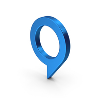 Symbol Map Pin Blue Metallic PNG & PSD Images