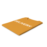 Female Crew Neck Folded Orange Delivery PNG & PSD Images