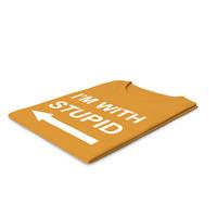 Female Crew Neck Folded Orange I'm With Stupid PNG & PSD Images