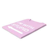 Female Crew Neck Folded Pink Im With Stupid PNG & PSD Images
