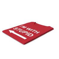 Female Crew Neck Folded Red Im With Stupid PNG & PSD Images