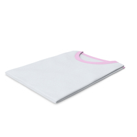 Female Crew Neck Folded White and Pink PNG & PSD Images