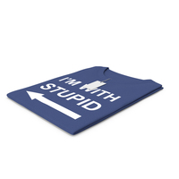 Female Crew Neck Folded With Tag Dark Blue Im With Stupid PNG & PSD Images