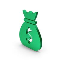 Symbol Money Bag Green Metallic PNG & PSD Images