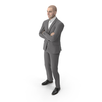 Business Man Crossed Arms Suit Grey PNG & PSD Images