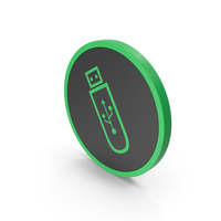 Icon USB Flash Green PNG & PSD Images