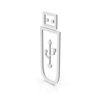 Symbol USB Flash White PNG & PSD Images