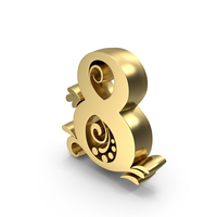 Golden Candle Number 8 PNG & PSD Images
