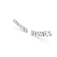 Foil Balloon Words Cheers Bishes Silver PNG & PSD Images