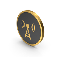 Gold Icon Antenna PNG & PSD Images