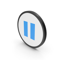 Icon Pause Button Blue PNG & PSD Images