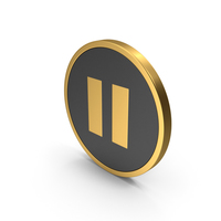 Gold Icon Pause Button PNG & PSD Images