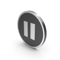 Silver Icon Pause Button PNG & PSD Images